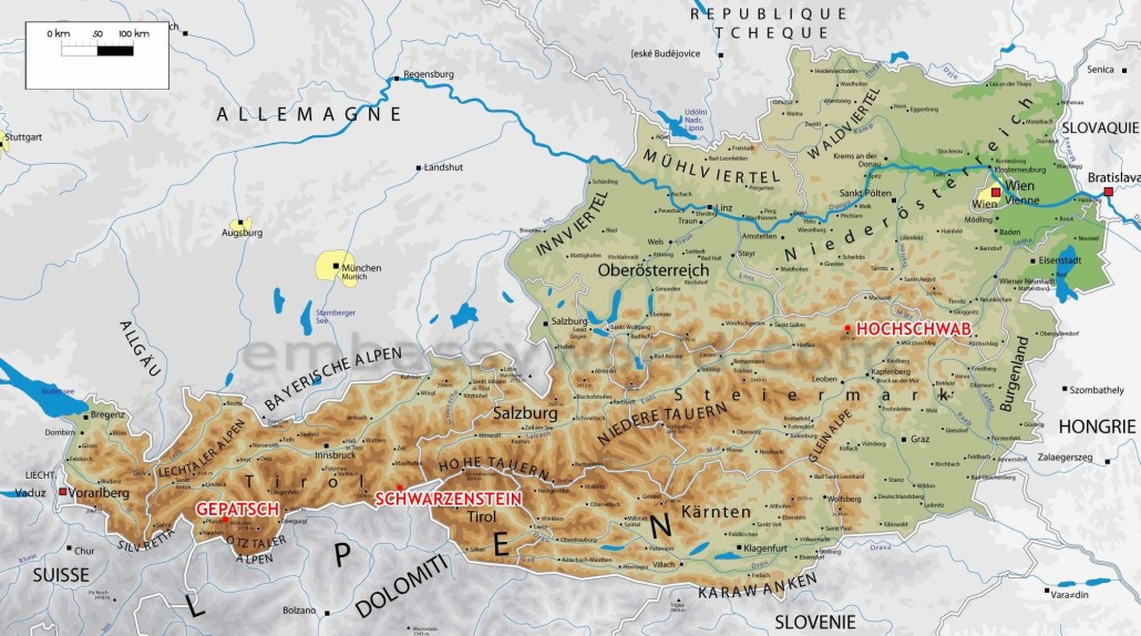 Skialp-Rakousko-mapa